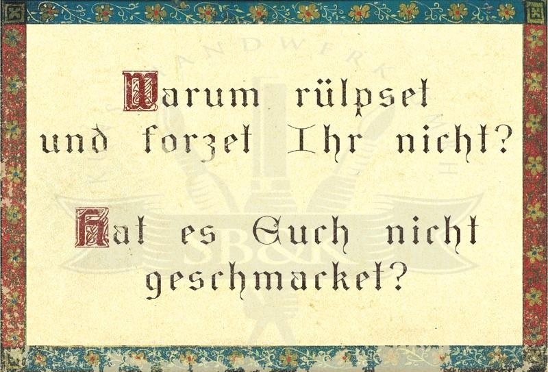 Warum Rülpset Und Furzet Ihr Nicht Goethe